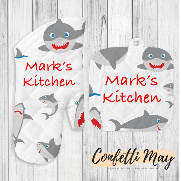 Personalised Oven Mitt and Pot Holder Set - Shark