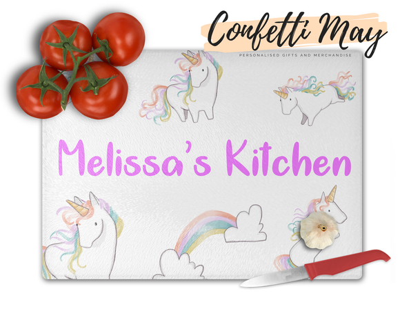Personalised Glass Chopping Board - Unicorn