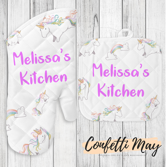 Personalised Oven Mitt and Pot Holder Set - Unicorn