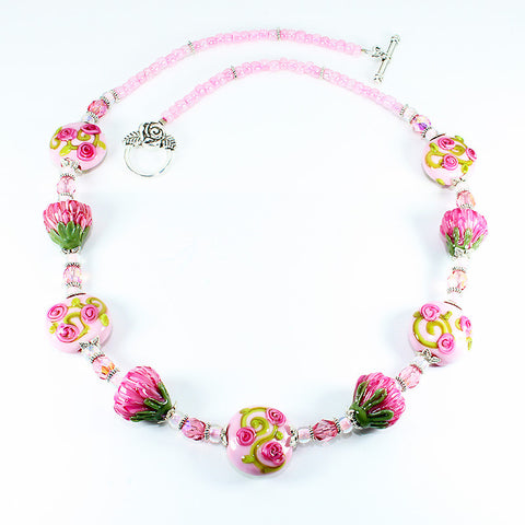Protea & Rose Flower Necklace - Dragon Fire Beads Online