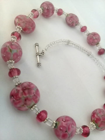 Peacock Pink Daisy Necklace Necklaces - Dragon Fire Beads Online