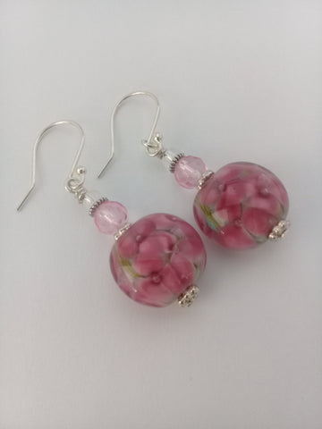 Peacock Pink Daisy Earrings Earrings - Dragon Fire Beads Online