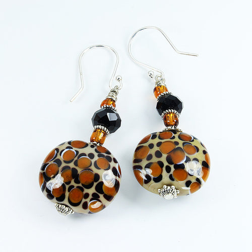 Leopard Safari Earrings Earrings - Dragon Fire Beads Online