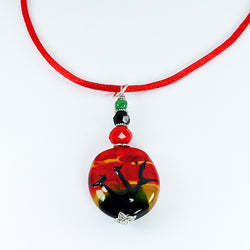 African Sunset Landscape Pendant - Dragon Fire Beads Online