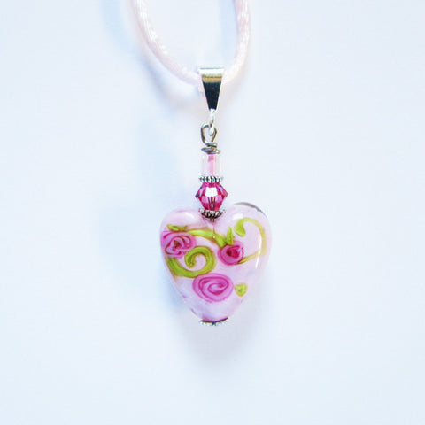 Rose Heart Pendant Pendants - Dragon Fire Beads Online