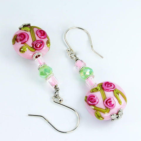 Rose Flower Earrings Earrings - Dragon Fire Beads Online