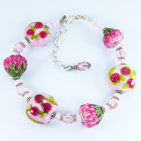 Protea & Rose Flower Bracelet Bracelets - Dragon Fire Beads Online