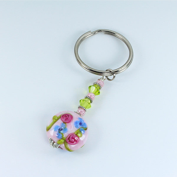Rose Flower Keyring Accessories - Dragon Fire Beads Online