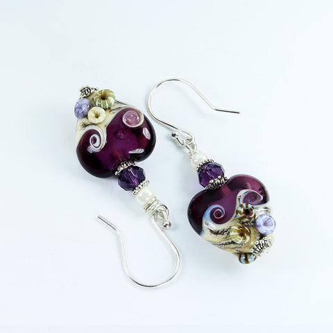 Seaside Purple Sea Earrings Earrings - Dragon Fire Beads Online