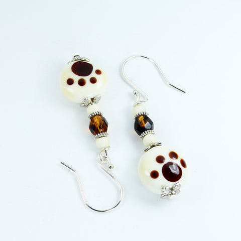 Pawprint Ivory Safari Earrings Earrings - Dragon Fire Beads Online