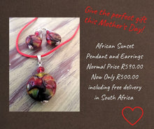 African Sunset Pendant and Earrings