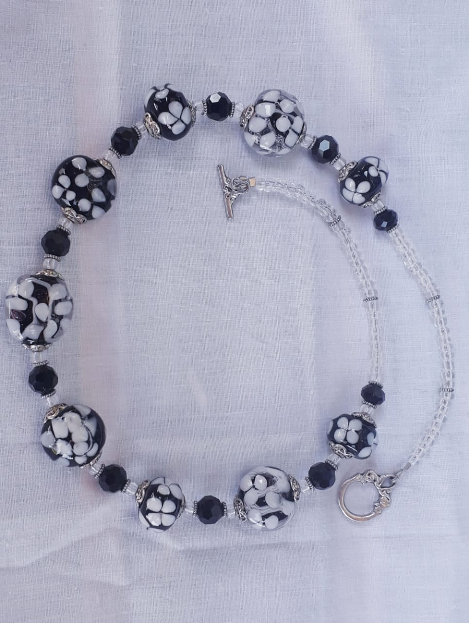 Crazy Daisy Black and White Necklace