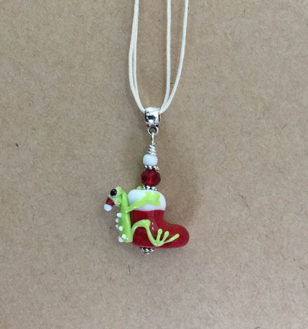 Christmas Frog Pendant Pendants - Dragon Fire Beads Online