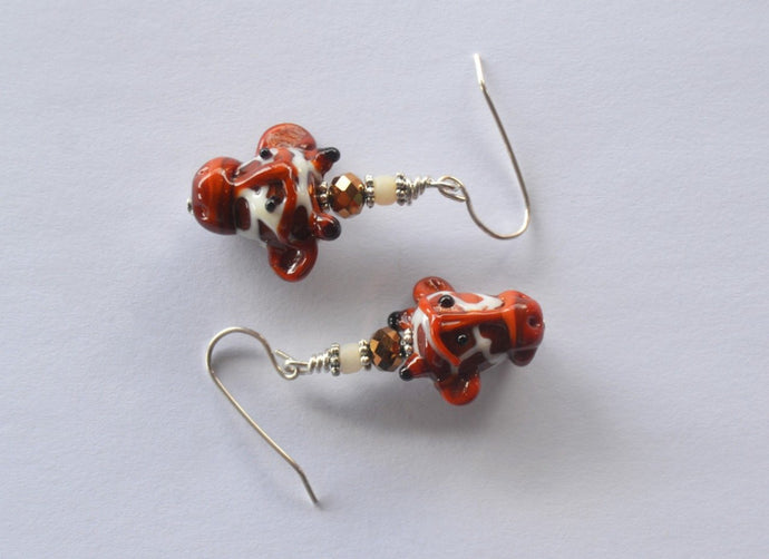 Giraffe Head Earrings Earrings - Dragon Fire Beads Online