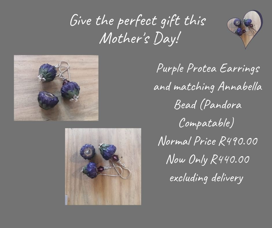Purple Protea Earrings and Annabella Bead Set