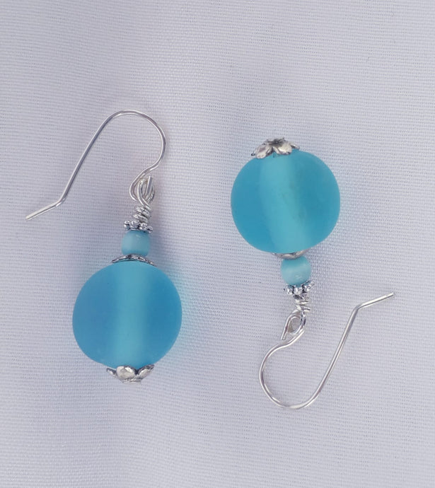 Bombay Sapphire Gin Glass frosted Earrings