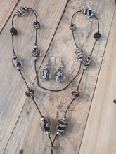 Silvered Ivory Lariat and Earrings