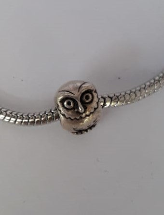 Silver-plated Owl Charm Annabella Beads - Dragon Fire Beads Online