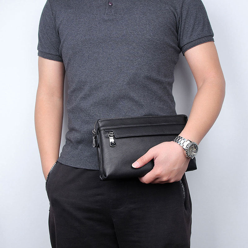 Black Genuine Leather Man's Clutch