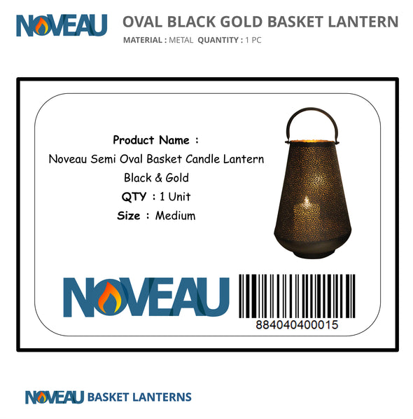 Semi Oval Basket Candle Lantern Black & Gold Medium