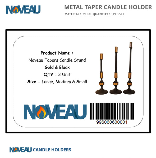 Tapers Candle Stand Gold & Black