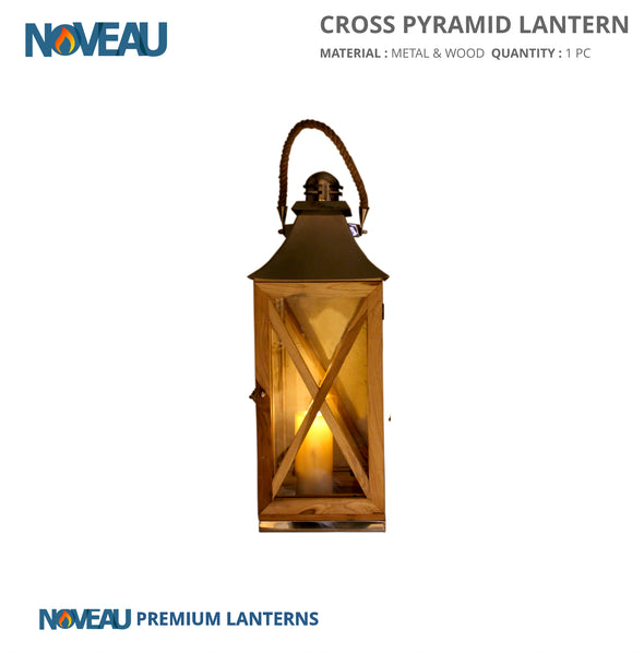 Glass & Wooden Cross Pyramid Lantern Large