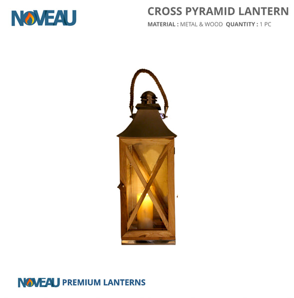 Glass & Wooden Cross Pyramid Lantern Medium