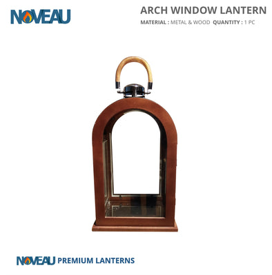 Glass & Wooden Arch Window Lantern Large