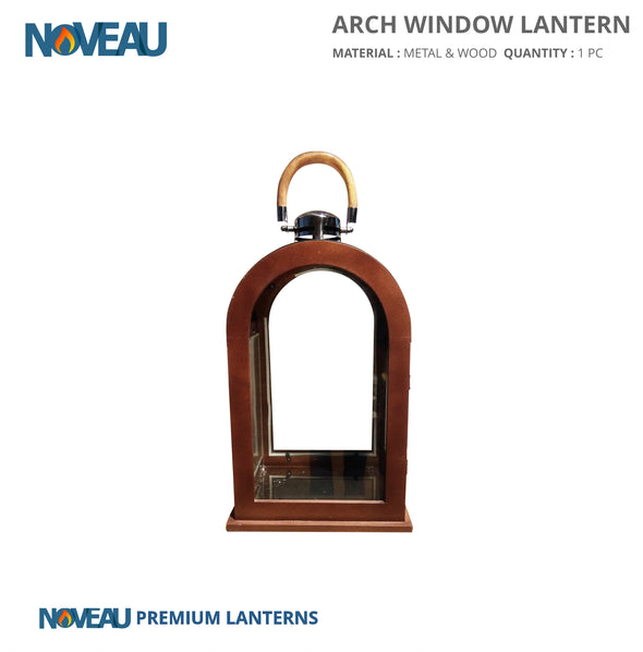 Glass & Wooden Arch Window Lantern Medium