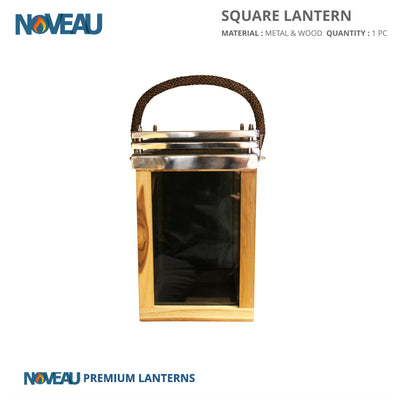 Glass & Wooden Square Lantern