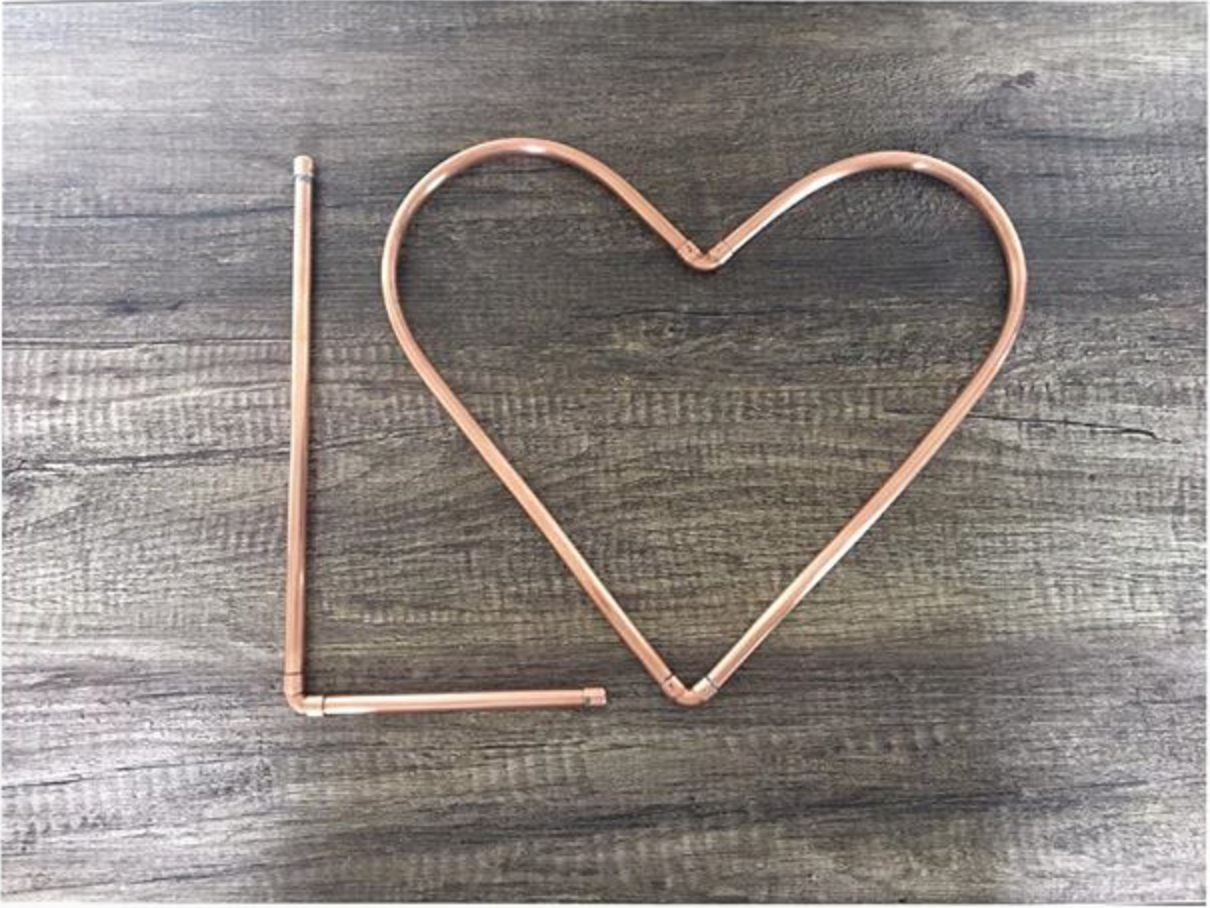 "Handcrafted Copper Letter ""L"" and a Copper Heart"