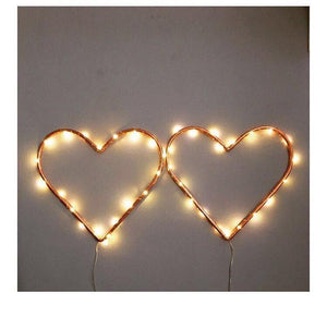 Two Copper Hearts with Fairy Lights