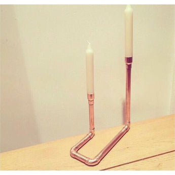 Copper Pipe Candle Holder with Candle