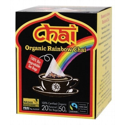 Chai Tea Organic Rainbow Chai Pyramid 20 Tea Bags