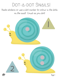 [Free Printable] Snail Dot-a-dot Printable (1-9)
