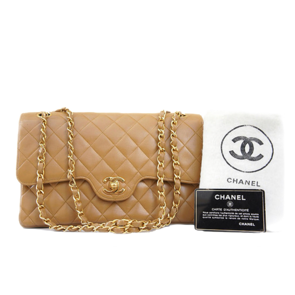 "Vintage CHANEL 10"" Medium Flap Beige GHW"