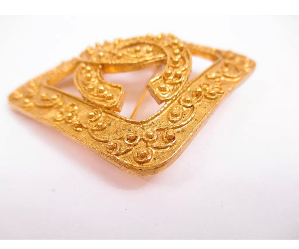 Vintage Gold Chanel Logo Brooch