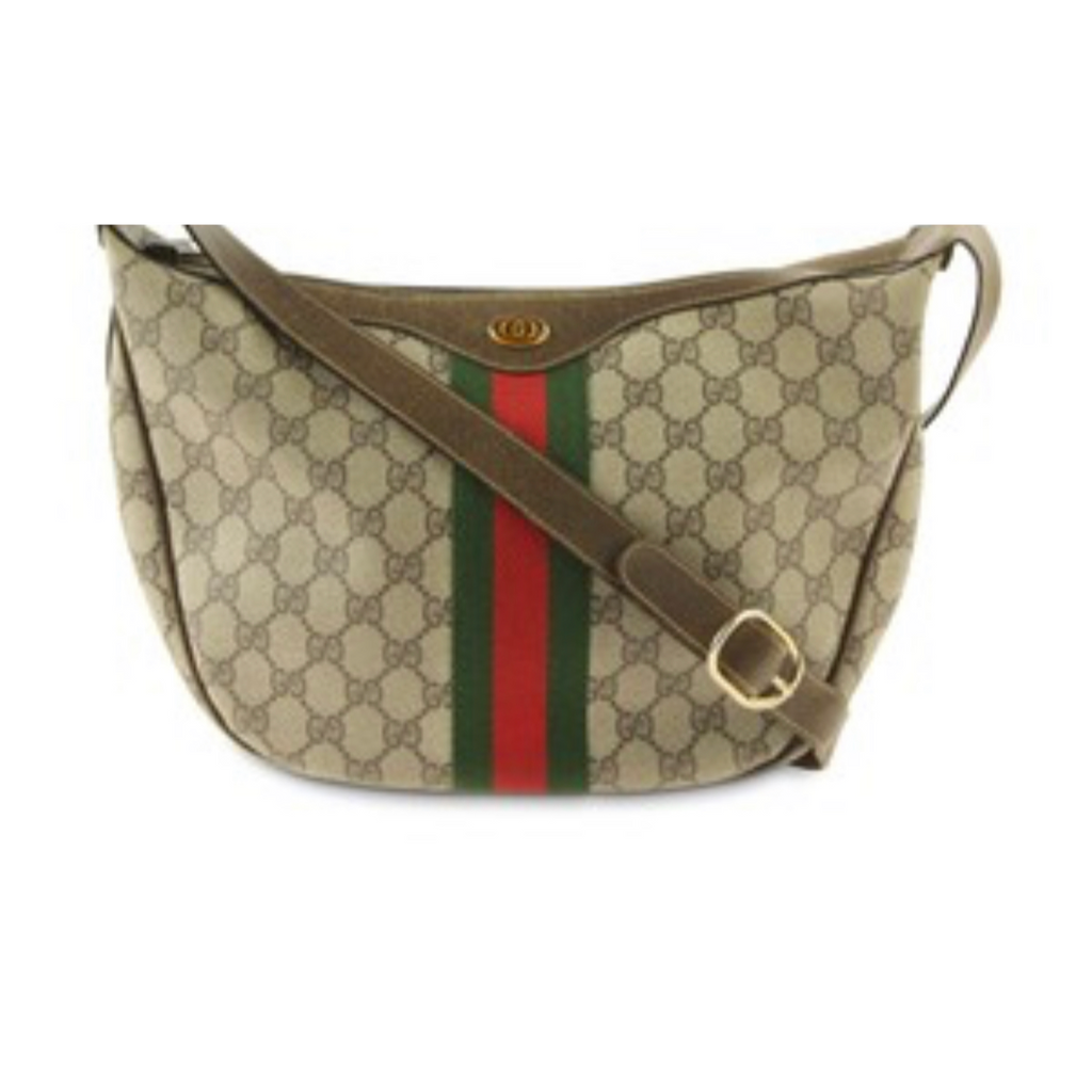 Vtg GUCCI Monogram Hobo Bag with Web detail