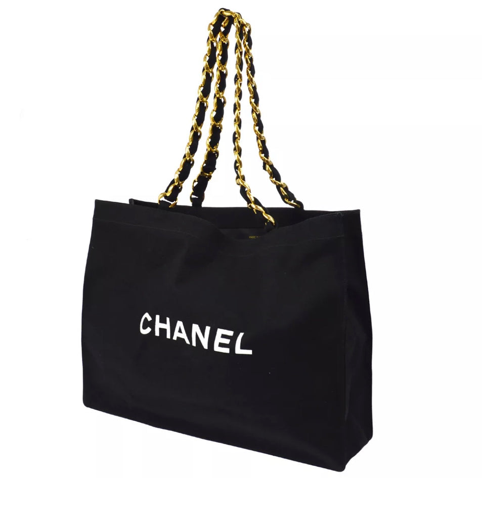 Large canvas CHANEL tote bag, Black