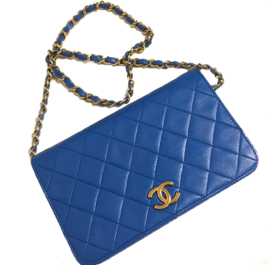 Copy of Vintage Chanel classic full flap bag, blue lambskin GHW