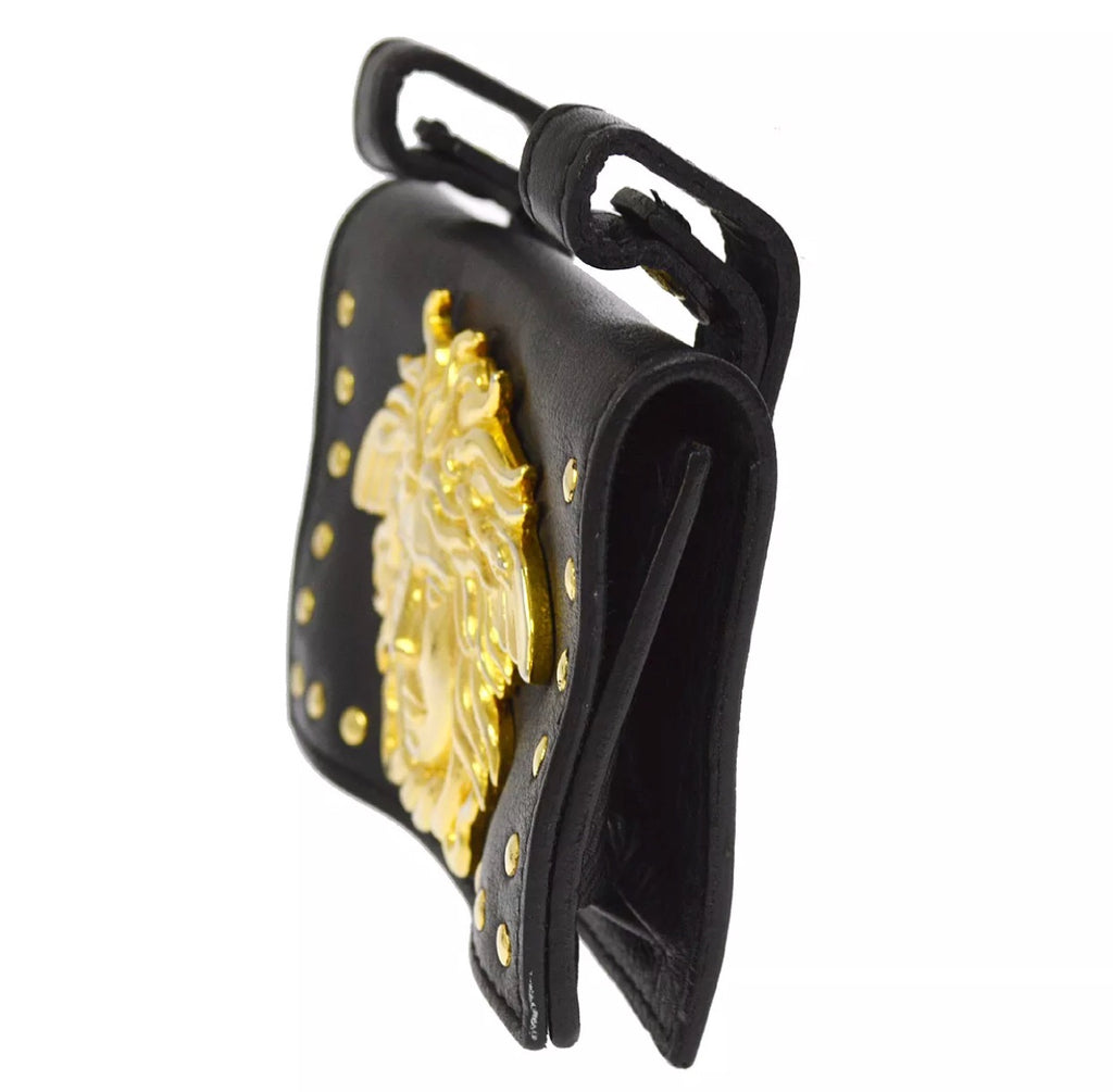 VERSACE MEDUSA HEAD LEATHER WAIST POUCH