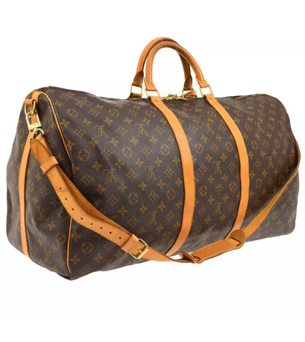 Vtg Louis Vuitton Keepall 60 Duffel Bag with Strap