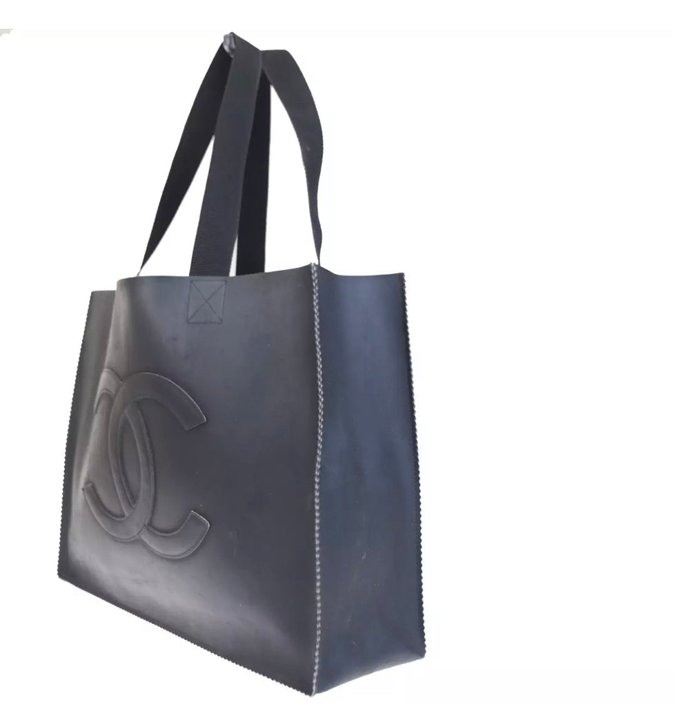 Vintage CHANEL CC Logo Tote Bag, Black