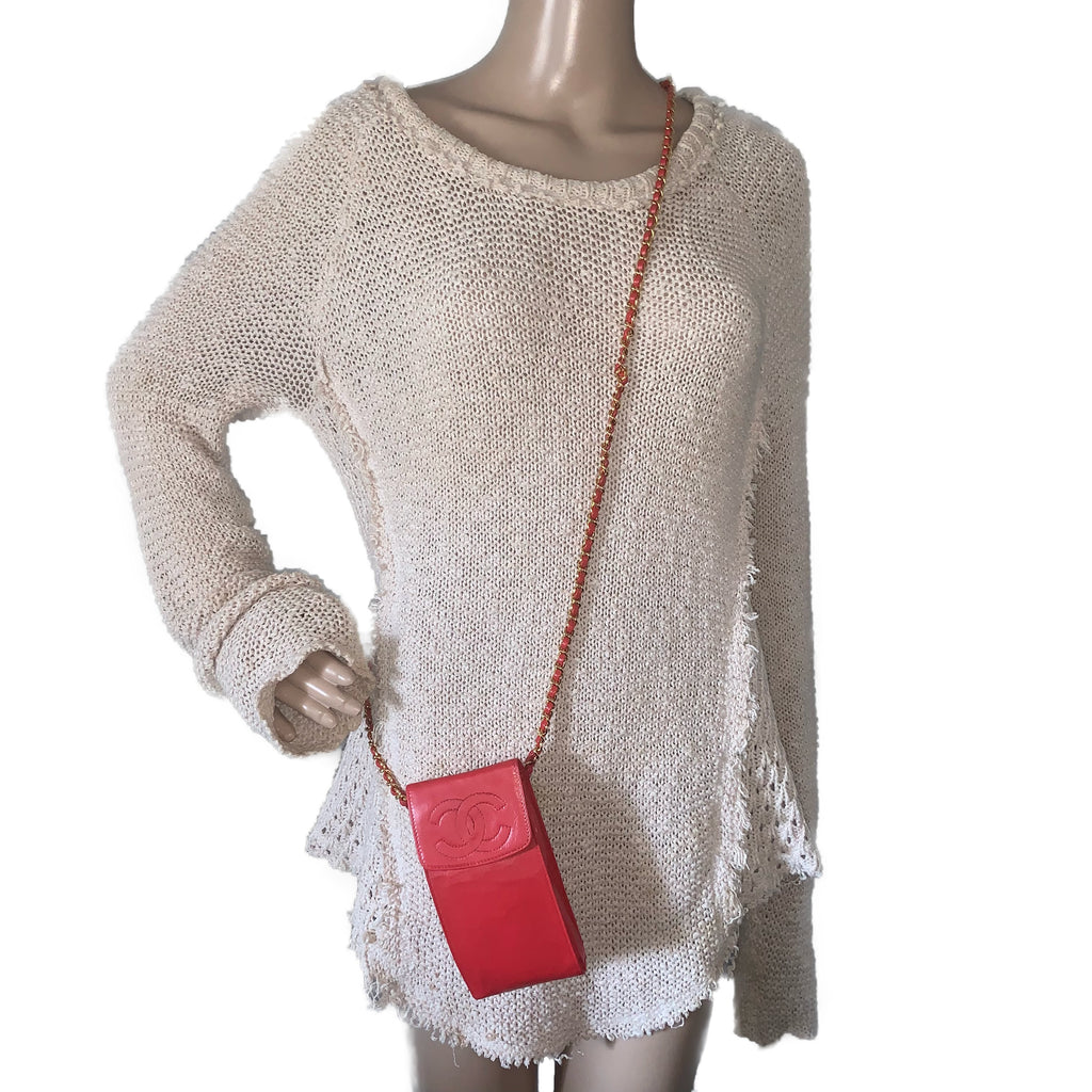 Vintage Red Lambskin CHANEL CC Crossbody Iphone Case