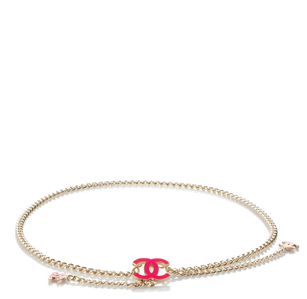 CHANEL GOLD CC CHAIN BELT WITH PINK ENAMEL