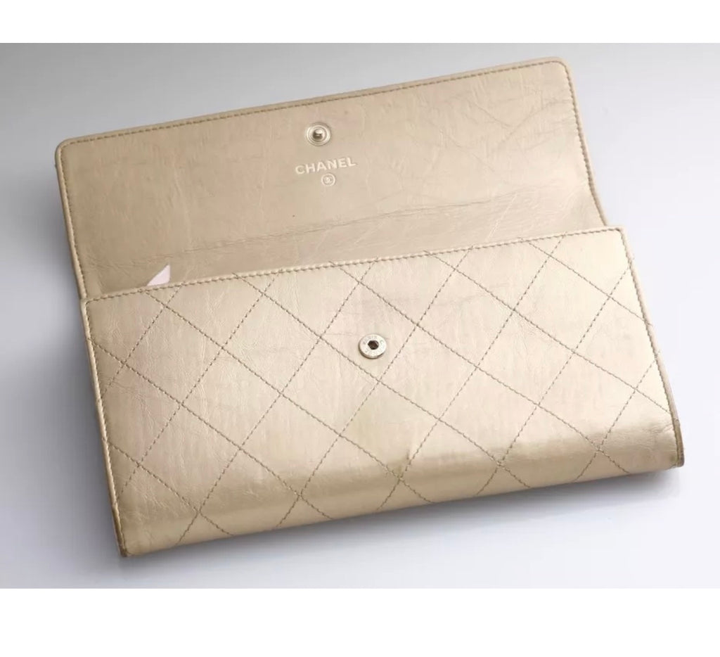 CHAMPAGNE GOLD CHANEL CLUTCH WALLET