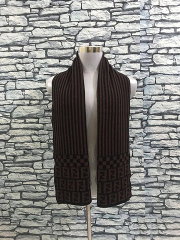 Vintage FENDI FF Unisex Wool Scarf, Brown