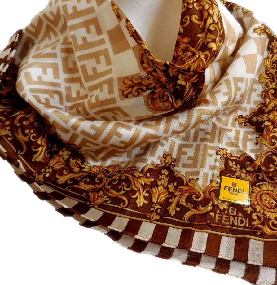 FENDI FF MONOGRAM SILK HANDKERCHIEF HEAD SCARF
