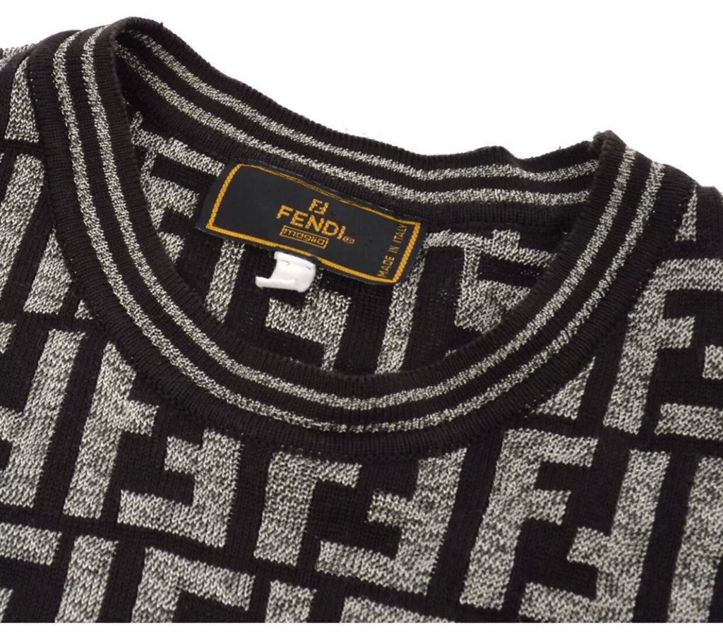 FENDI FF SHORT SLEEVE LOGO SWEATER, 40