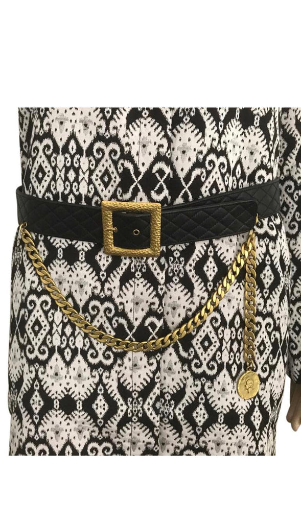 CHANEL LEATHER + CHAIN BELT, SZ 85